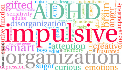 Photo Impulsive ADHD Word Cloud on a white background.