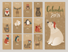 Calendar 2018. Cute Monthly Ca...