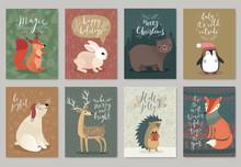 Christmas Animals Card Set, Hand Drawn Style.