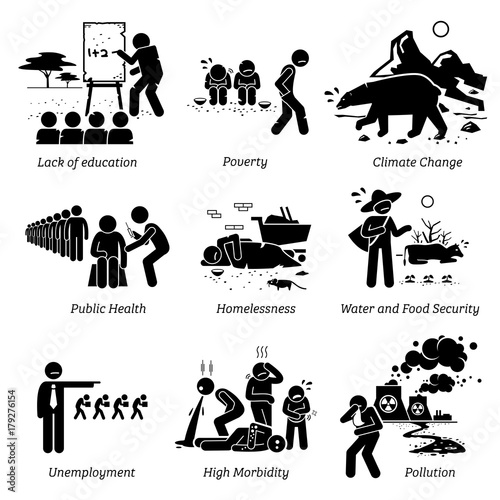 Social Issues: Social Issues And Critical Problems Pictogram Icons