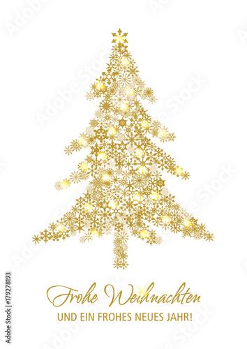 Schriftzug Frohe Weihnachten.Tannenbaum Aus Goldenen Sternen Mit Schriftzug Frohe Weihnachten