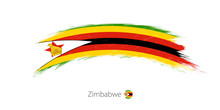 Flag Of Zimbabwe In Rounded Gr...