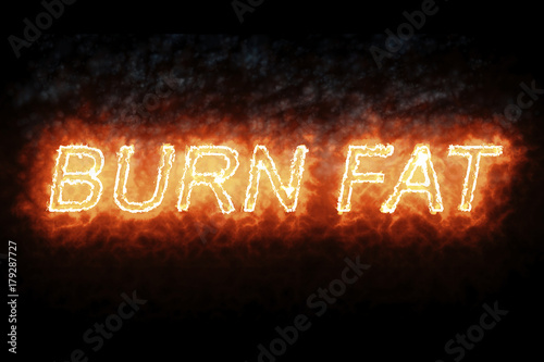 Fotografiet  burning font burn fat fire word text with flame and smoke on black background, c