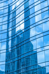 Low angle view of skyscrapers architectural glass