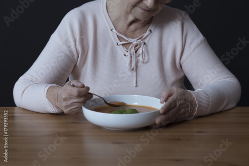 Elderly person with appetite disorders Canvas Print