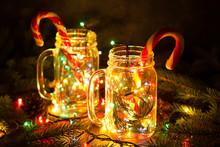Christmas Card With Glowing Ga...