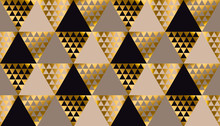 Luxury Geometry Black, Gold And Beige Seamless Vector Illustration. Concept Triangle Geometric Pattern For Card, Invitation, Header Print And Web Design, Wrapping Paper, Fabric..