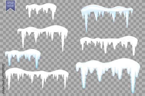 set of snow icicles snow cap isolated on transparent background