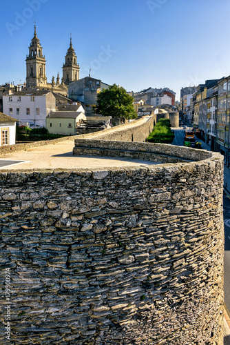 Closeup of historic Roman walls in Lugo, Galicia, Spain.