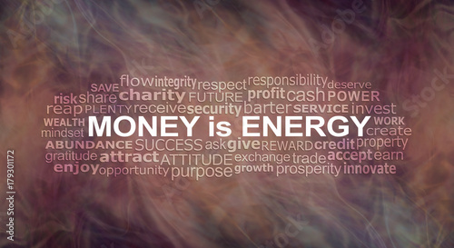 Fototapeta Money IS energy Word Cloud - a warm flowing energy formation background with a MONEY IS ENERGY word cloud  obraz