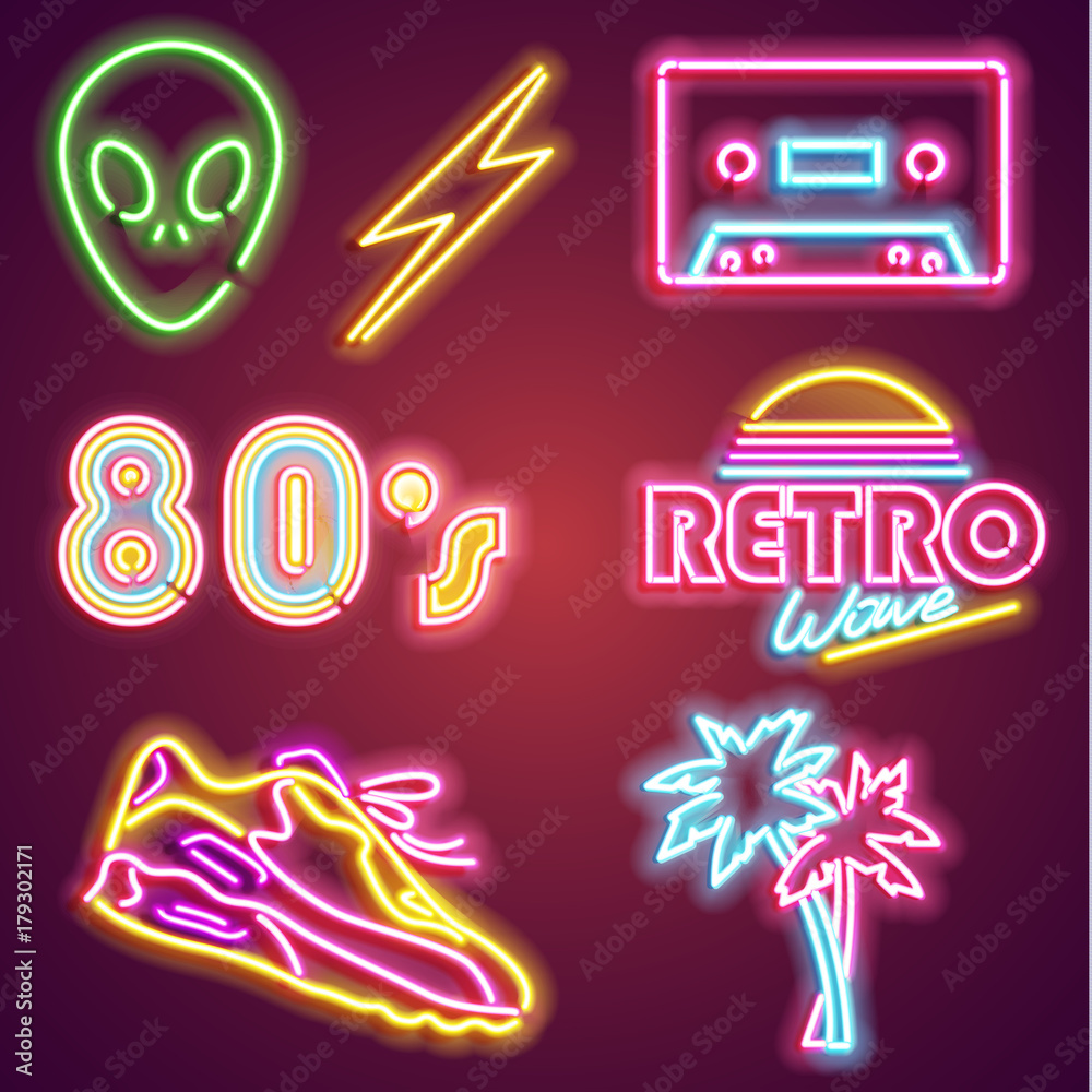 Fototapety, obrazy: Set retrowave neon sign. Neon sign, bright signboard, light banner. Vector icons