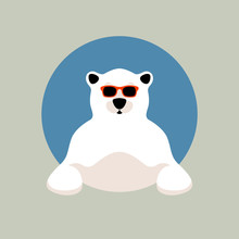 Polar Bear Face In Glasses Vec...