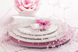 Place setting in pink tone
