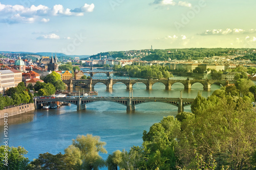 Poster Praag Prague Bridges and Vltava River in the Summer. Czech Republic.