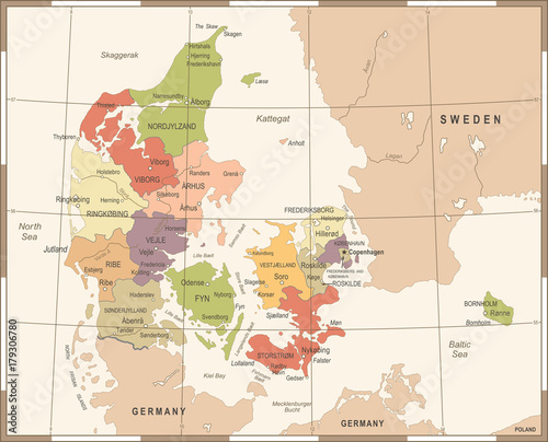 Photo Denmark Map - Vintage Vector Illustration