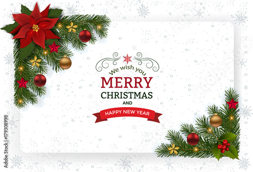 Christmas Background With Decoration And Paper. Decorative