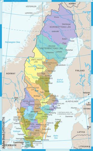 Photo Sweden Map - Vector Illustration