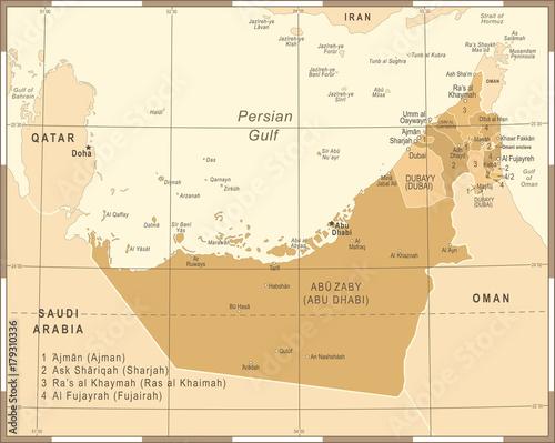 united-arab-emirates-map-vintage