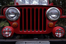 Red Jeep - Antique Jeep Grille...
