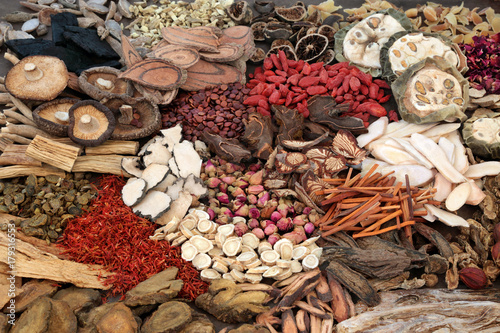 Photo  Traditional chinese herbs used in herbal medicine forming a background