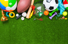 Various Sport Tools On Grass