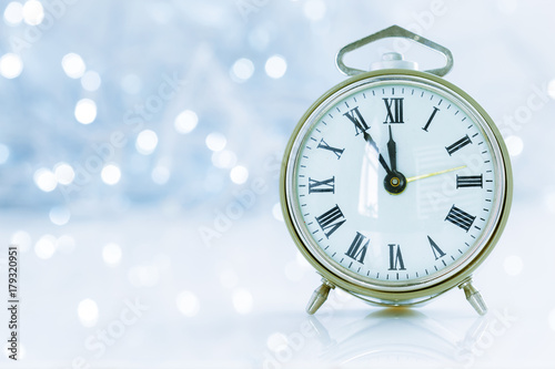 Foto  clock with christmas for time change in winter