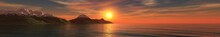 Sunset Over The Mountains In The Sea, Banner, 3D Rendering