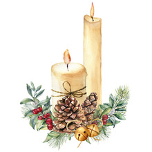 Watercolor Christmas Candles W...
