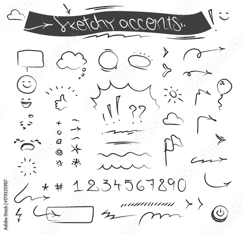 Photo Creative sketchy accents and symbols vector set