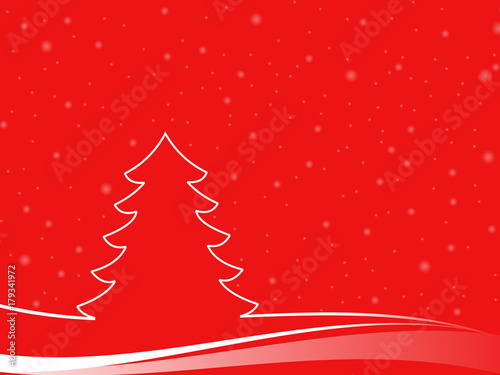 Foto op Canvas Baksteen Abstract christmas tree in a minimal landscape with snowflakes. christmas illustration with red background and white shapes