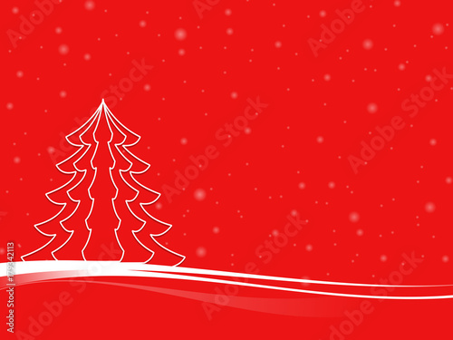Foto op Canvas Baksteen abstract Christmas and New Year landscape with 3D xmas tree and white snowflakes