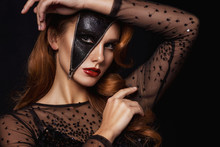 Glamour Beautiful Lady In Halloween Party Make Up. Portrait Of Beautiful Woman With Sparkles On Her Face. Girl With Art Make Up. Fashion Model With Creative Make-up