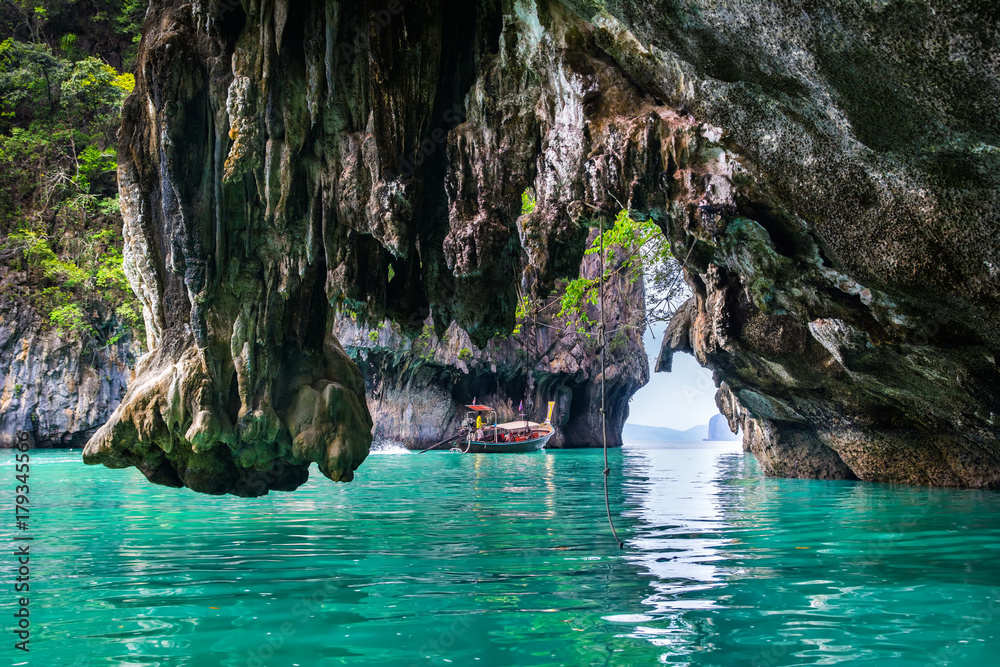 Fototapety, obrazy: Amazing view of lagoon in Koh Hong island from kayak. Location: Koh Hong island, Krabi, Thailand, Andaman Sea. Artistic picture. Beauty world.