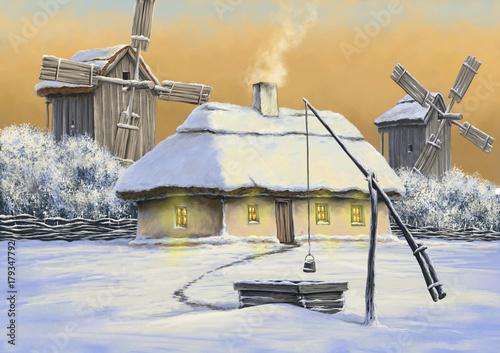 Zdjęcie XXL Zimowe obrazy olejne krajobraz, Ukraina, sztuka cyfrowa, śnieg, wieczór, dom, młyn, oraz
