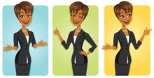 Cartoon Black Business Woman I...