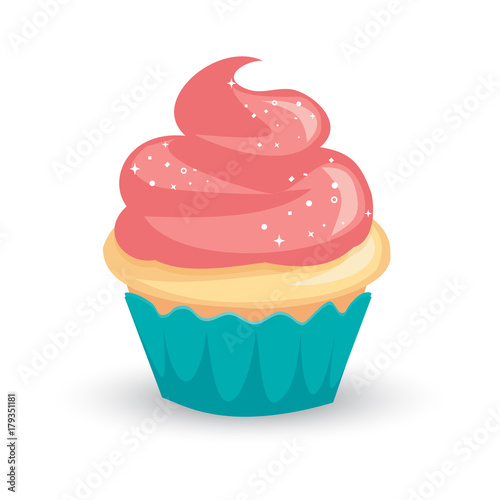 Платно Pretty cartoon vanilla cupcake with pink icing and sparkly white sprinkles