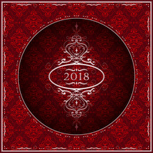 New Year 2018 Greeting Card In Red