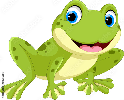 Śliczna żaby kreskówka odizolowywająca na białym tle