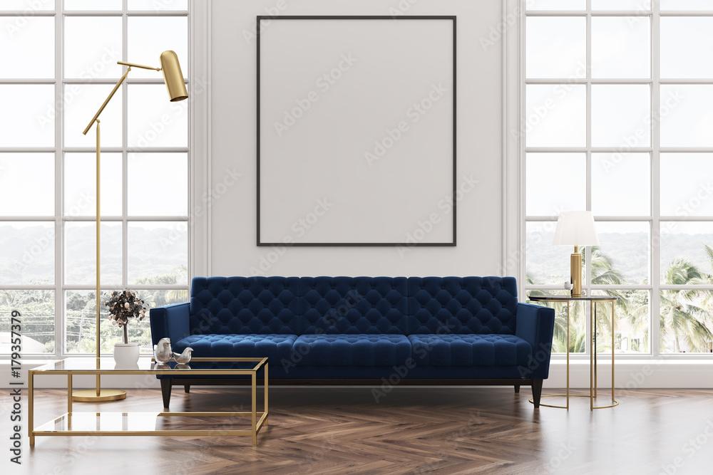 Fototapety, obrazy: White living room, blue sofa, poster