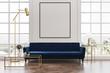 Leinwandbild Motiv White living room, blue sofa, poster
