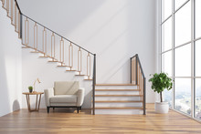 White Living Room Interior, Stairs, Armchair