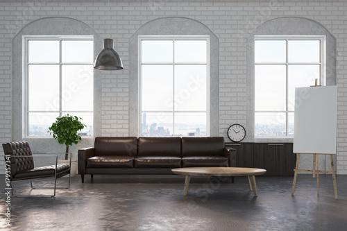 Foto op Aluminium Wand White brick living room, brown sofa