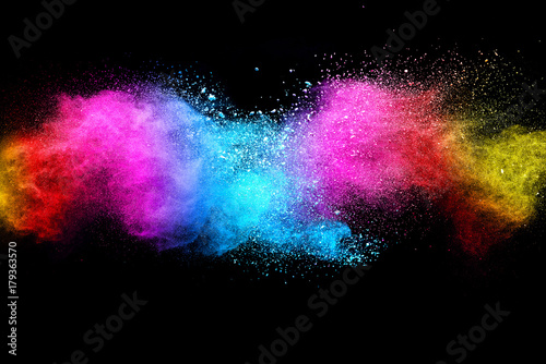 Fotobehang Heelal Splash of colorful powder over black background.