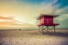 Lifeguard Tower Low Angle Shoot At Sunset, Michigan, United States