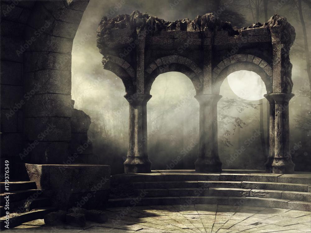 Fototapeta Ruiny starożytnego teatru na tle pełni księżyca