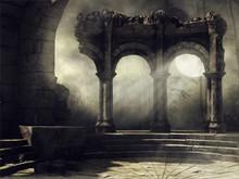 Ruiny Starożytnego Teatru Na Tle Pełni Księżyca