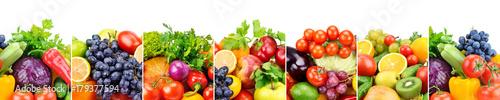 Obraz na płótnie Panoramiczni inkasowi świezi owoc i warzywo odizolowywający na białym tle.
