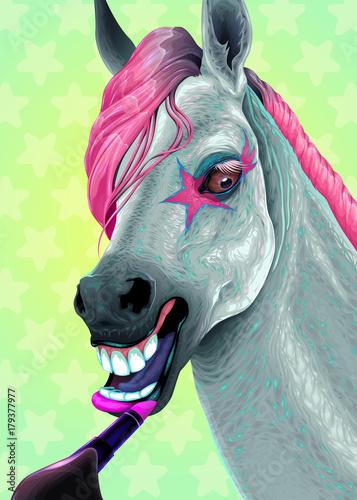 Staande foto Kinderkamer Horse is applying the lipstick on her lips