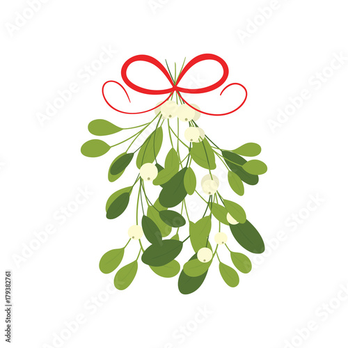 Photo Mistletoe with red bow and curly ribbon, isolated on white background