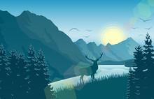 Mountain Landscape With Deer I...